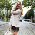Cream knit & khaki lace