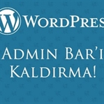 WordPress Admin Bar'ı Kaldırma