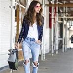 Sokak Stili: Pullu ceket ve Yırtık jean Kombini