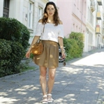 Leather skirt and Off Shoulder Blouse