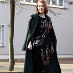 Green Oversized Coat & Black Overknees