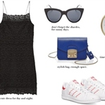 MANGO DRESS, FURLA BAG & STAN SMITH SNEAKERS