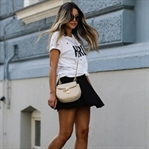 PRADA SHADES, ADIDAS SNEAKERS & BLACK SKIRT