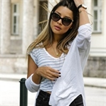 STRIPES TEE, SUPERGA SNEAKERS & WHITE CARDIGAN