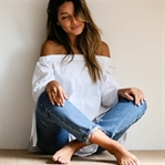 WHITE OFF SHOULDER & HIGH WAIST JEANS
