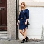 Off-Shoulder Kleid rockig kombiniert