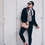 Black Bomber Jacket & Gucci Jordaan Loafer