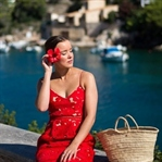 RED LACE DRESS IN CALA FIGUERA   MALLORCA