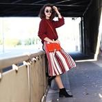 Striped Skirt | Red Jumper