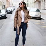 Beige Biker Coat with Faux Fur Collar