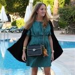 Green dress and Valentino bag