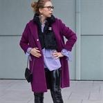 Outfit: Wollmantel, Streifenbluse, FakeFur & Vinyl