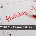 2018 Yılı Resmi Tatil Günleri
