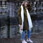 Khaki Coat, Fringed Denim & Rose Adidas Gazelle