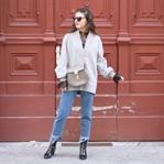 Oversized V-Neck, Lace Blouse & Fringed Jeans