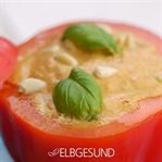 Paprika-Suppe – kalt gemixt und hübsch serviert!