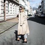 Checked pants and trench coat