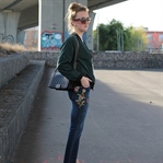 Embroidered jeans and bomber jacket