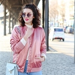 Pink Bomber & Mom Jeans