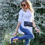 White Shirt & Cobalt Blue Heels