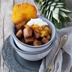 Karamellisierte Kastanien-Knöpfchen mit Ananas-Kom