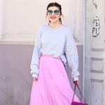 Pearl Hoodie & Pink Pleated Skirt
