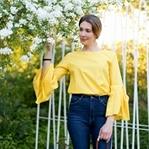 Yellow Trumpet Sleeve Blouse