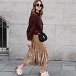 Blouson, Velvet Skirt & Pompon Mules