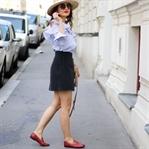 Frilled Shirt, Wraparound Skirt & Gucci Jordaan