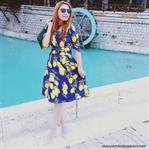 Limon Baskılı Vintage Elbise