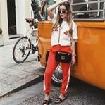 Red Track Pants x Cherry Shirt.