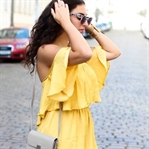 Yellow Offshoulder Jumpsuit and Denim Slippers