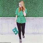 Yeşil Kemerli Bluz