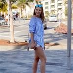 Beach Bar Look – Off Shoulder Bluse & Heels