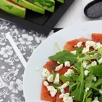 Wassermelonen-Carpaccio mit Fetakäse & Mohnöl