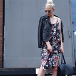 EVERY DAY LOOK W/ FLOWER DRESS & LEATHER JACKET