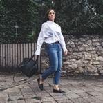 Herbst Outfit mit weißer Kent-Kragen Bluse