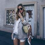 Outfit: Grey blazer und Levi's Vintage Shorts
