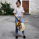 Round Straw Bag, Pom Pom Slides & Mom Jeans