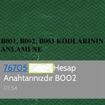 B001, B002, B003 kodlarının anlamı ne?
