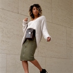 KNIT SKIRT, BELT BAGS AND BIG SWEATERS.