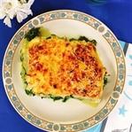 Kohlrabi-Lasagne mit Lachs und Spinat