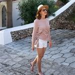 Urlaubsoutfit Menorca - Weiße Shorts & Plisseetop