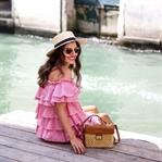 Venice: Ruffle Dress & Boater Hat