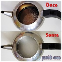 Kararmış Demliği, Kireçlenmiş Çaydanlığı Temizleme