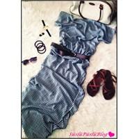 Çizgili Elbise Kombin 3
