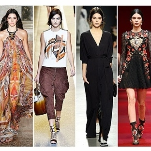 Kendall Jenner in Milan Fashion Week Runway 2014