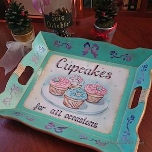 Cupcake'li Dekupaj Tepsi Yapımı