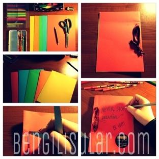 DIY : Kartondan,Renkli Kağıtlardan Defter Yapımı