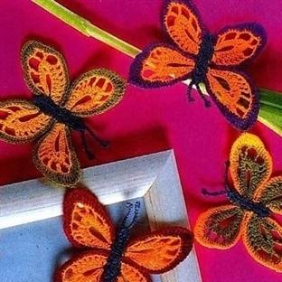 Renki Kelebek Figürlü İğne Oyası Örnekleri 2014
